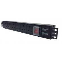 6 Way UK Horizontal PDU, 16A Commando Plug