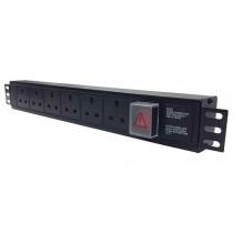 4 Way UK Horizontal PDU, IEC C14 Plug