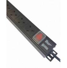 6 Way UK Vertical PDU, IEC C20 Plug